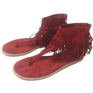Red Suede Sandals Coconuts by Matisse - Juno